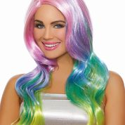 Long Wavy Rainbow Ombre Wig