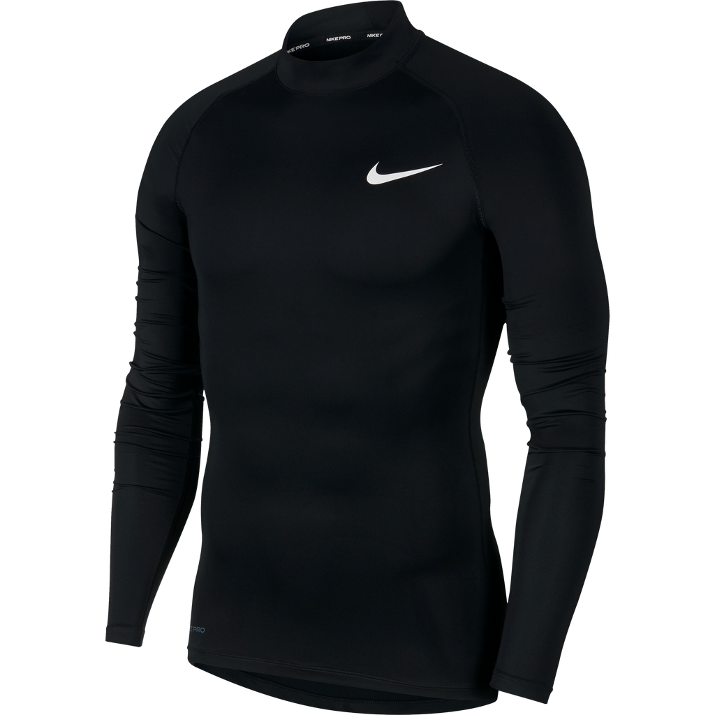 Nike Compression Mock Long Sleeve Top (Black/White)
