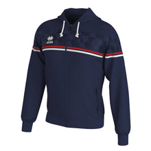 Load image into Gallery viewer, Errea Dragos Full-Zip Hooded Top (Navy/Red/White)