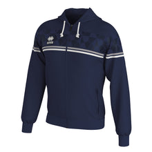 Load image into Gallery viewer, Errea Dragos Full-Zip Hooded Top (Navy/Grey/White)