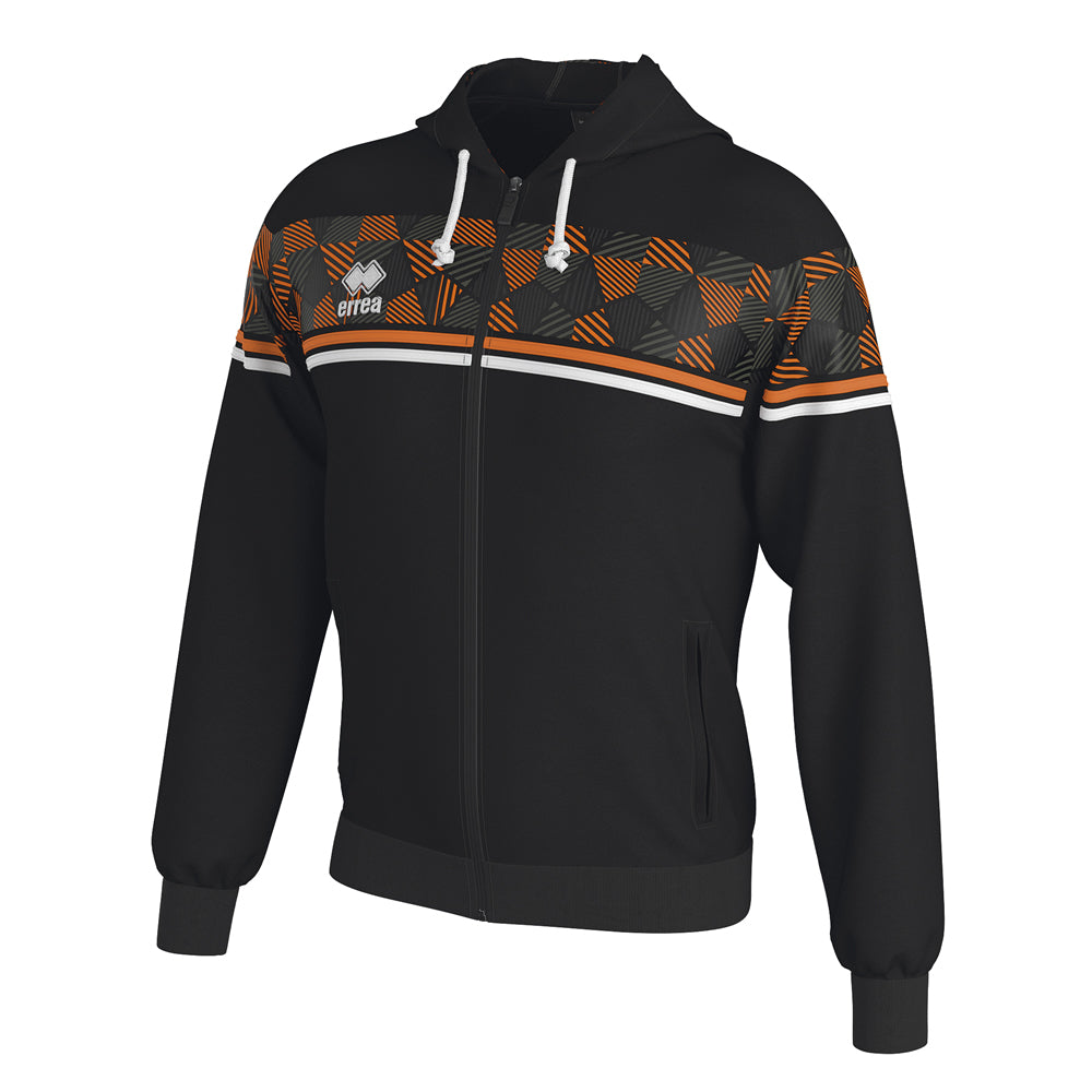 Errea Dragos Full-Zip Hooded Top (Black/Orange Fluo/White)