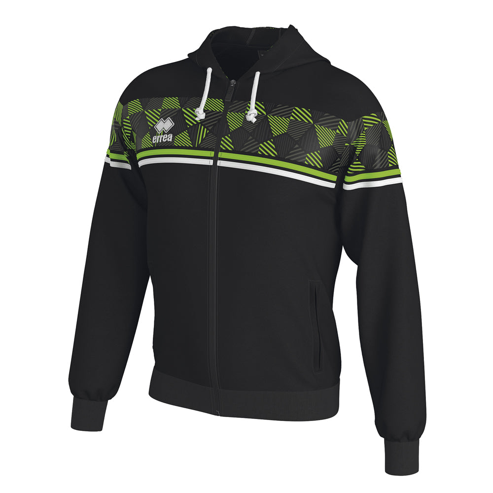 Errea Dragos Full-Zip Hooded Top (Black/Green Fluo/White)