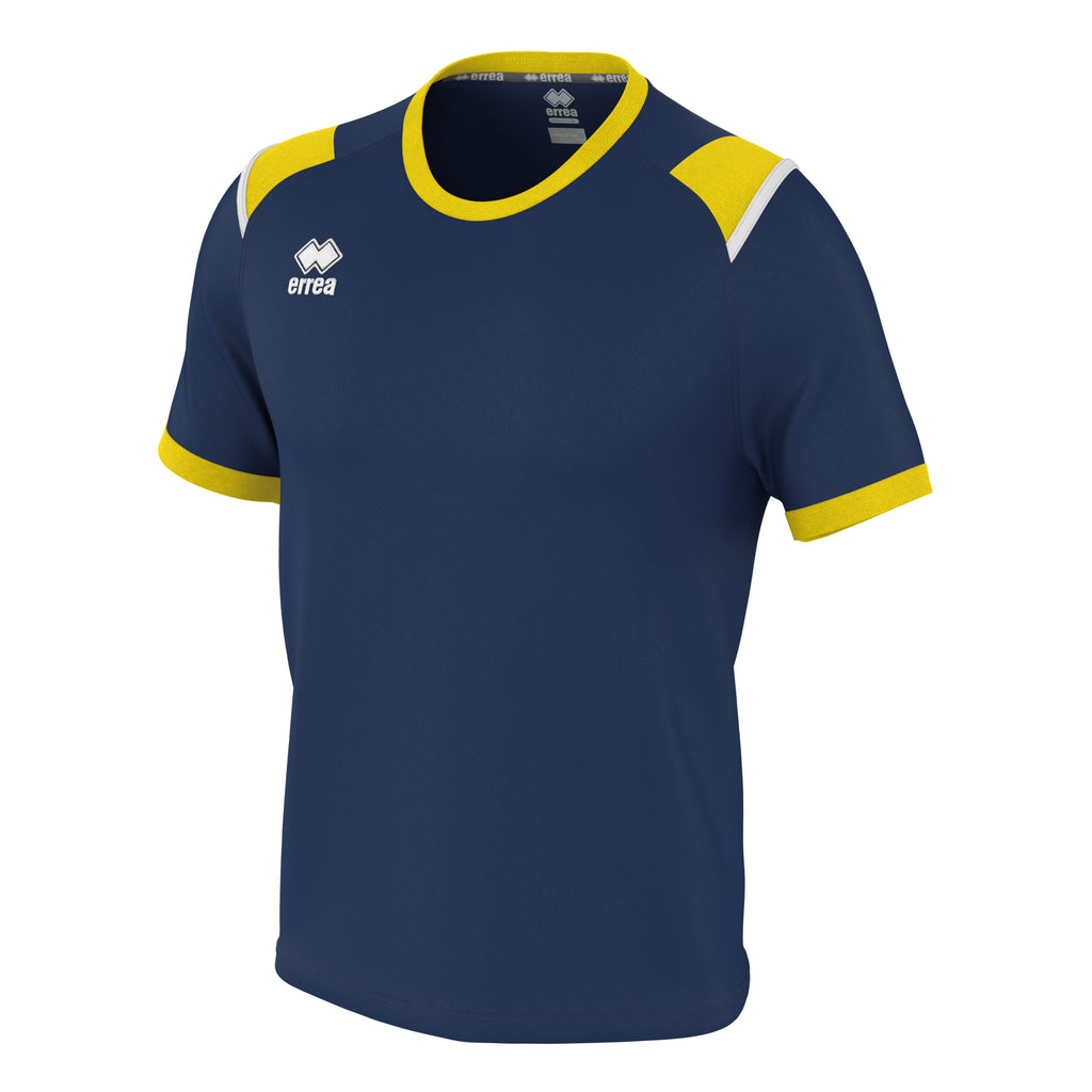 Errea Lex Short Sleeve Shirt (Navy/Yellow/White)