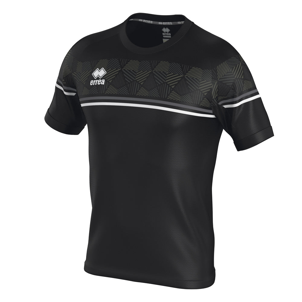 Errea Diamantis Short Sleeve Shirt (Black/Anthracite/White)