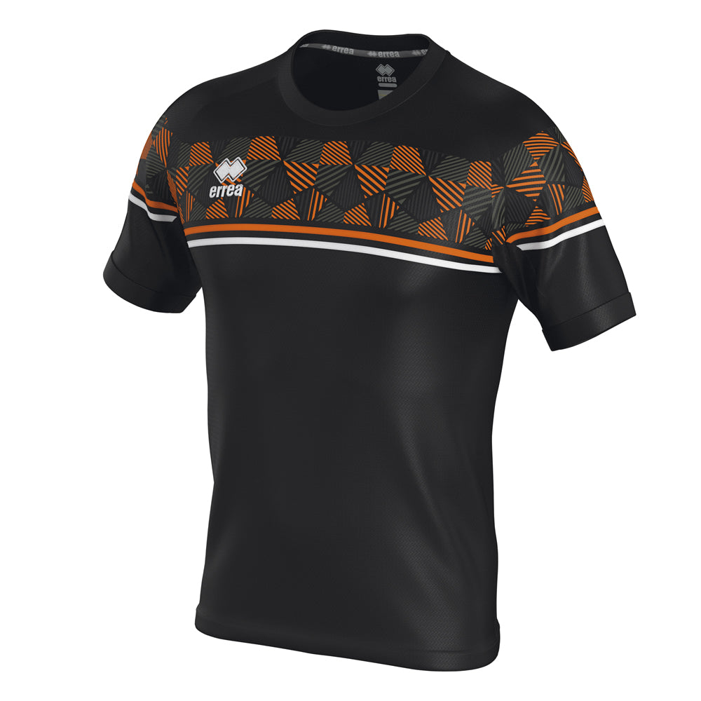 Errea Diamantis Short Sleeve Shirt (Black/Orange Fluo/White)