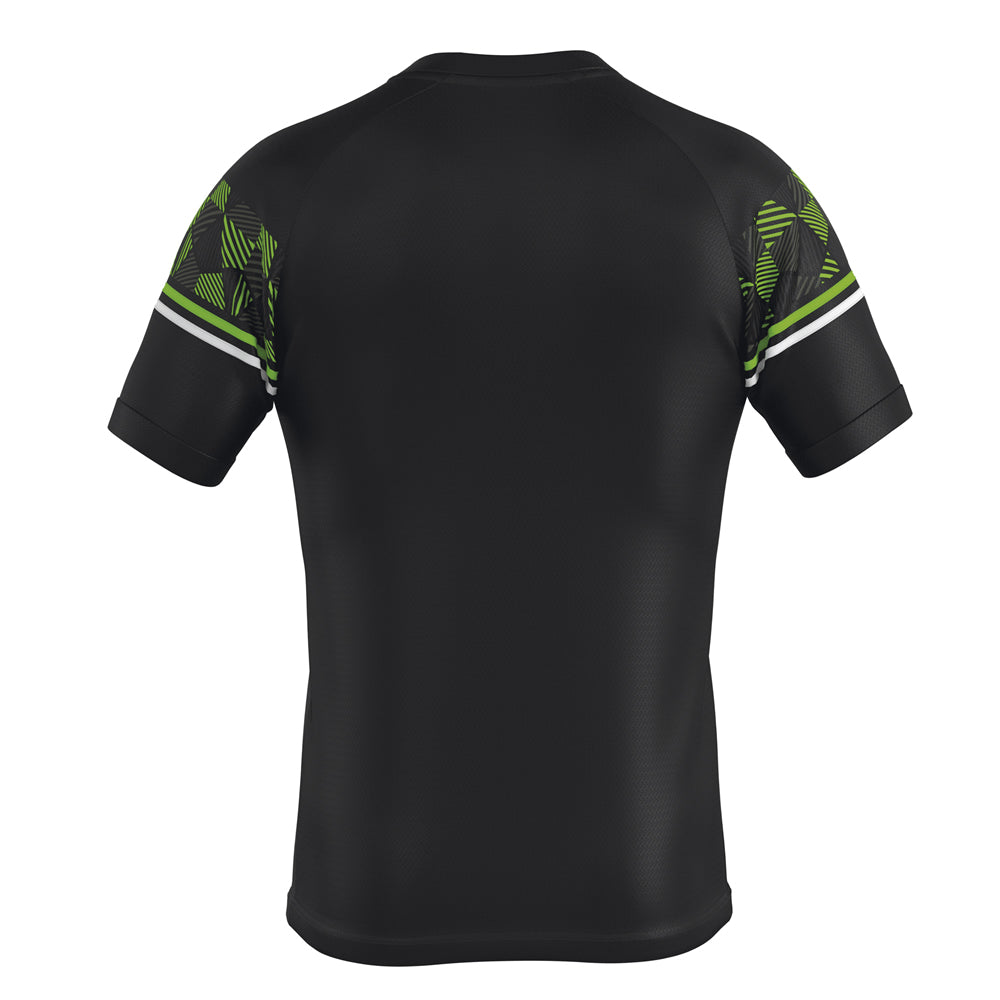 Errea Diamantis Short Sleeve Shirt (Black/Green Fluo/White)