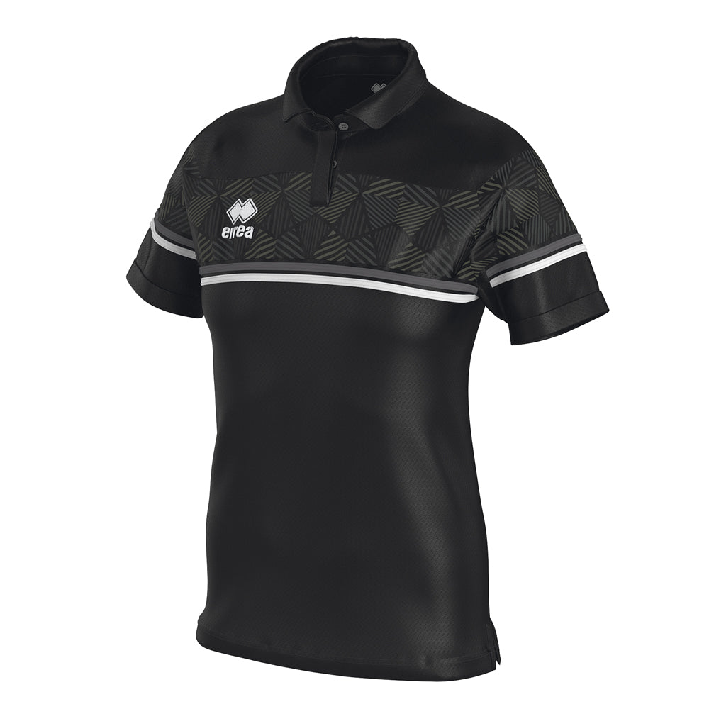 Errea Women's Darya Polo Shirt (Black/Anthracite/White)