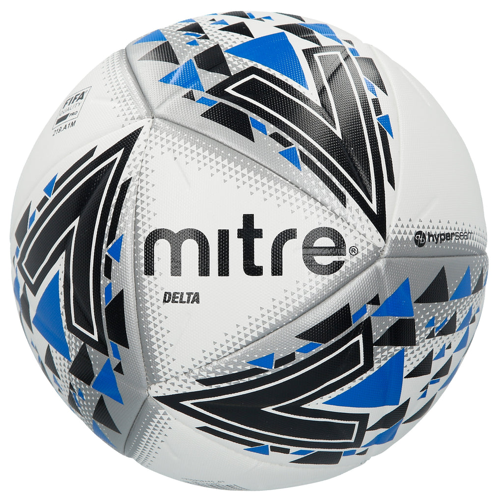 Mitre Delta Base-Level Professional Football (White/Black/Blue)
