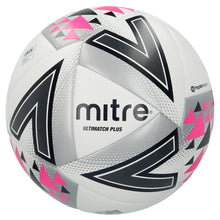 Load image into Gallery viewer, Mitre Ultimatch Plus Mid-Level Match Football (White/Silver/Pink)