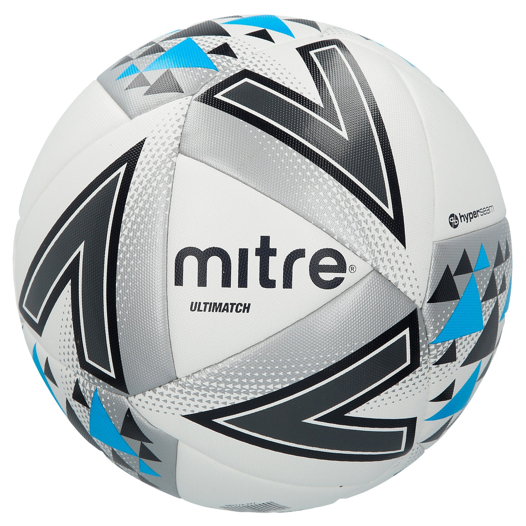Mitre Ultimatch Base-Level Match Football (White/Silver/Blue)