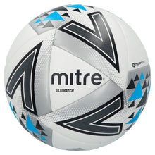Load image into Gallery viewer, Mitre Ultimatch Base-Level Match Football (White/Silver/Blue)