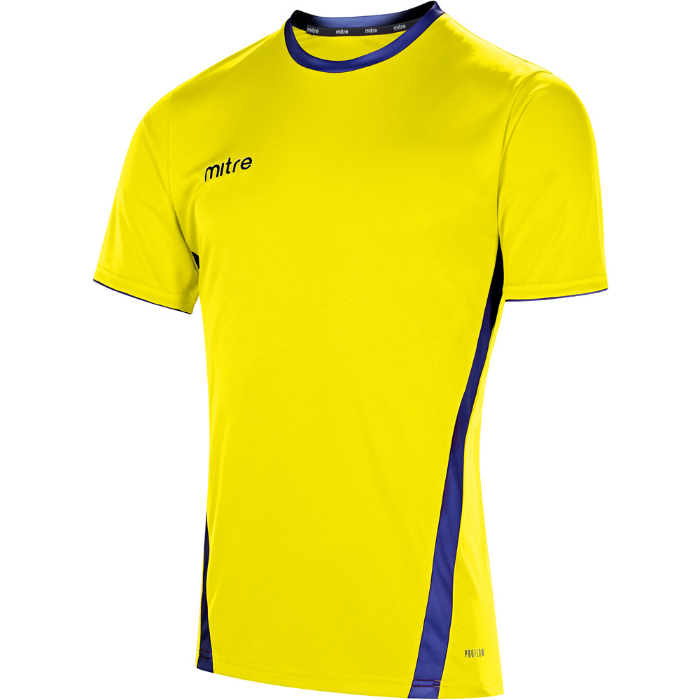 Mitre Origin SS Football Shirt (Yellow/Royal)