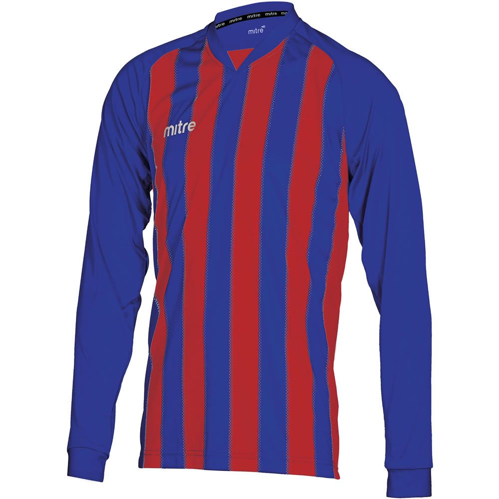 Mitre Optimize LS Football Shirt (Royal/Scarlet)