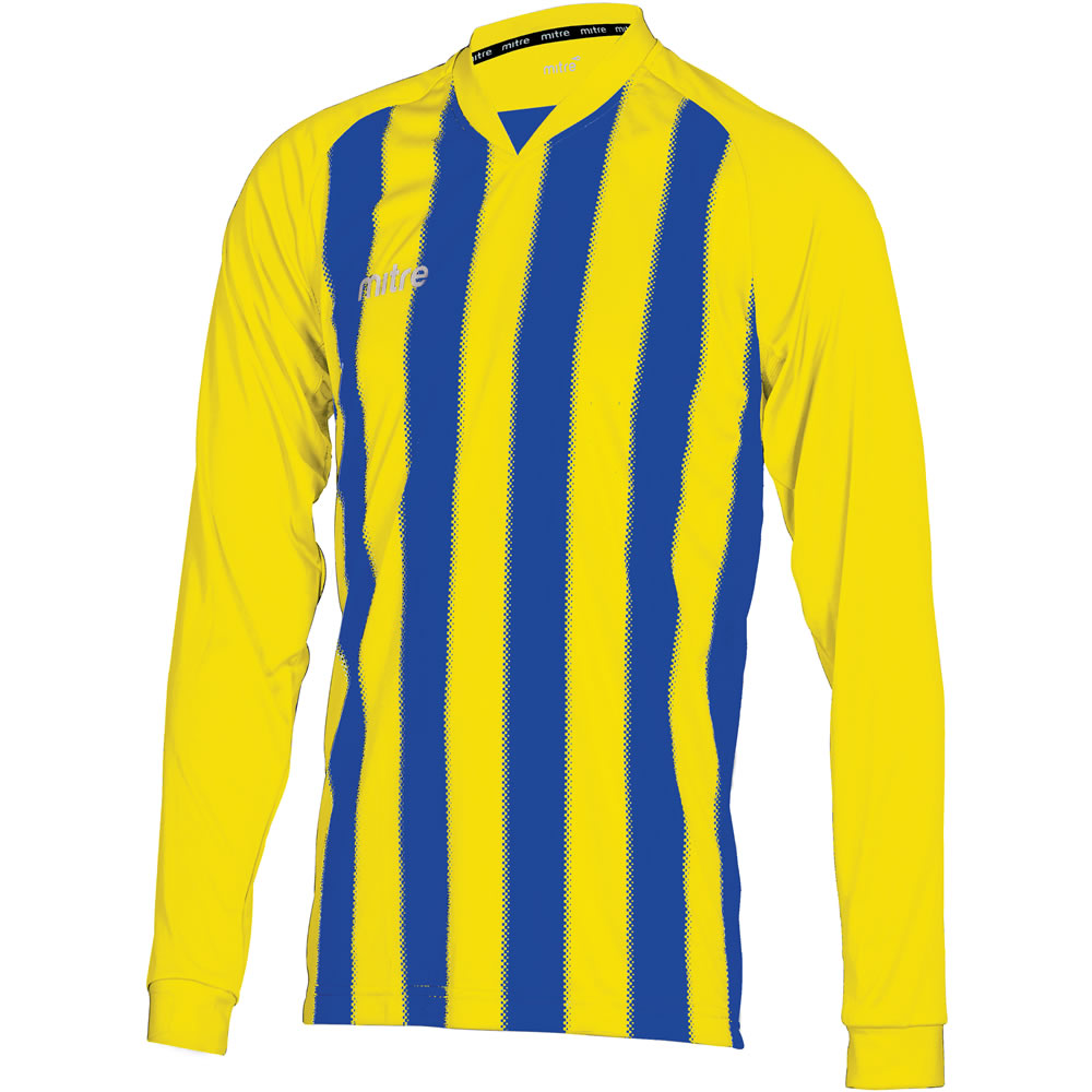 Mitre Optimize LS Football Shirt (Yellow/Royal)