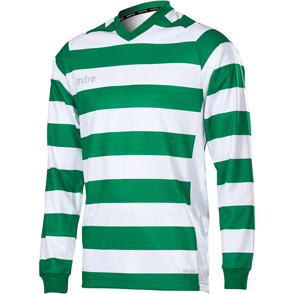 Mitre Converge LS Football Shirt (Emerald/White)