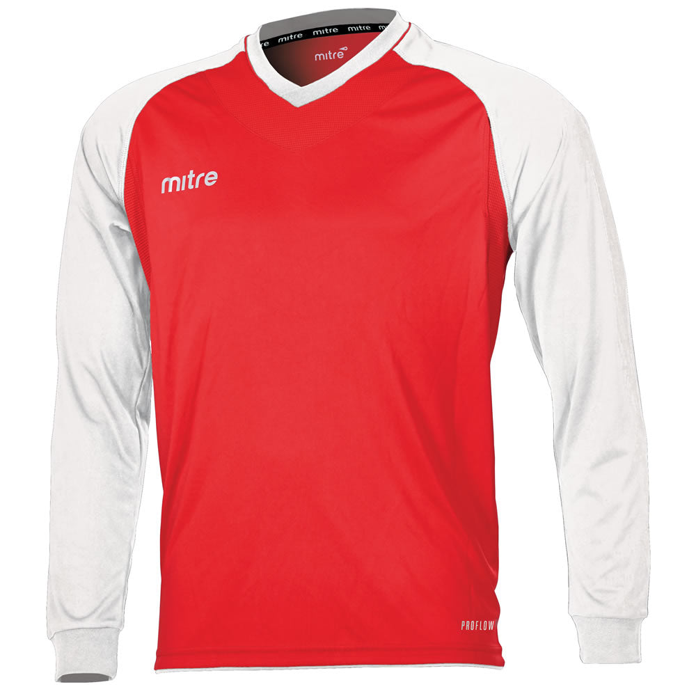 Mitre Cabrio LS Football Shirt (Scarlet/White)