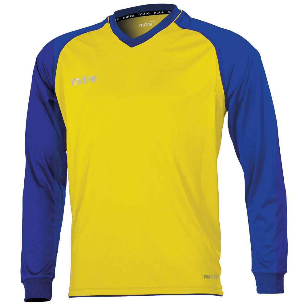 Mitre Cabrio LS Football Shirt (Yellow/Royal)