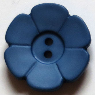28mm 2-Hole Flower Button - dull blue