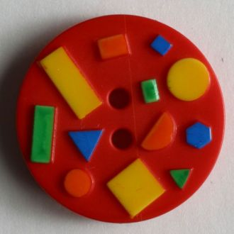 15mm 2-Hole Round Button - red multi