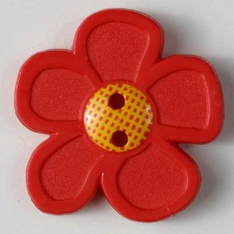 28mm 2-Hole Flower Button - red