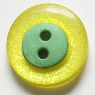 15mm 2-Hole Round Button - yellow/green translucent