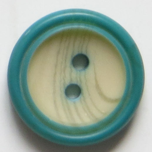15mm 2-Hole Round Button - blue-green