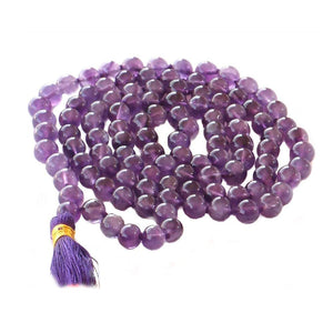 Amethyst Beads Necklace - Prayer beads for meditation-OMSutra-Amethyst Mala-voicenatural