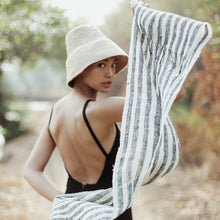 Load image into Gallery viewer, Fatima Hand-loomed Raw Cotton Scarf-BrunnaCo-Standard-voicenatural