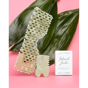Island Jade Gemstone Gua Sha & Massaging Comb for skincare-Earth Harbor Naturals-Massaging comb + Gua Sha-voicenatural