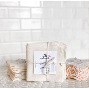 Organic Bamboo Cotton Cleansing Cloths-Lila Naturals-Natural White-voicenatural
