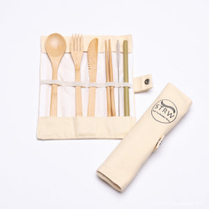 Portable Bamboo STRW Cutlery Set-STRW Co.-Bamboo wood-voicenatural