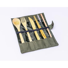 Load image into Gallery viewer, Portable Bamboo STRW Cutlery Set-STRW Co.-Green-voicenatural