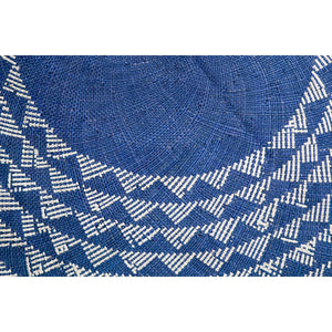White Triangle Mat | 4' Round | Midnight Blue Base-Rug-NEEPA HUT-voicenatural
