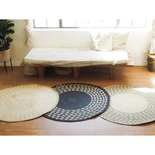 Load image into Gallery viewer, White Triangle Mat | 4' Round | Midnight Blue Base-Rug-NEEPA HUT-voicenatural