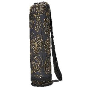 Yoga Bag - Hand Crafted Chic Bag to carry yoga mats | Strong and Stylish-OMSutra-Black-voicenatural