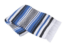 Load image into Gallery viewer, Yoga Blanket Rug Striped - Deluxe-Blanket-OMSutra-Blue-voicenatural