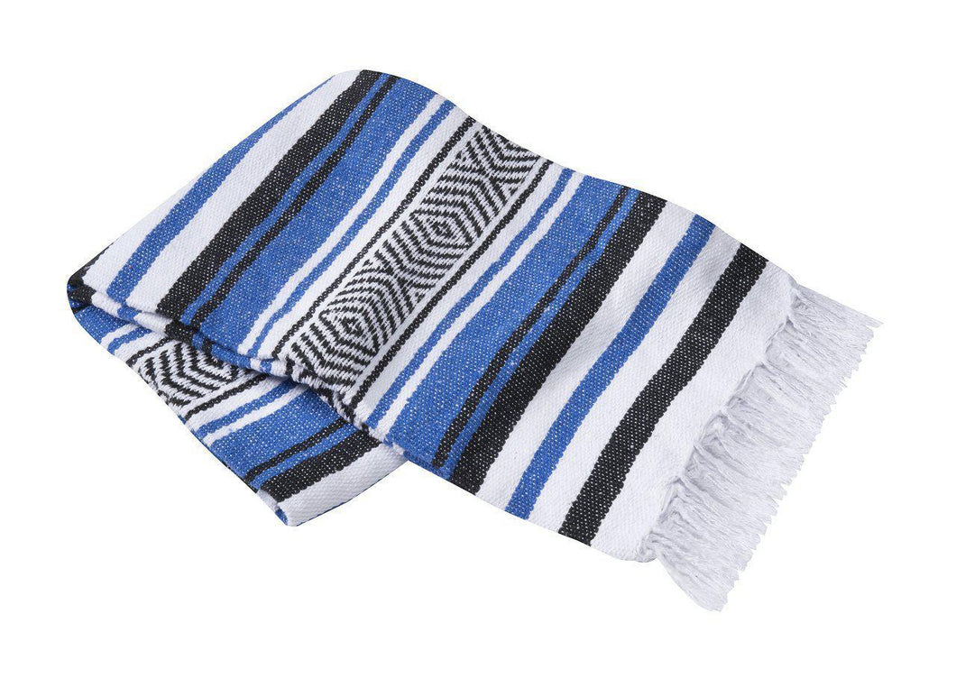 Yoga Blanket Rug Striped - Deluxe-Blanket-OMSutra-Blue-voicenatural
