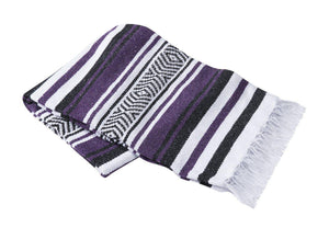 Yoga Blanket Rug Striped - Deluxe-Blanket-OMSutra-Purple-voicenatural