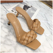 Load image into Gallery viewer, square toe braided mules
