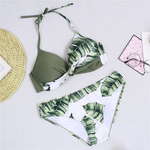 Load image into Gallery viewer, green tropical bikini