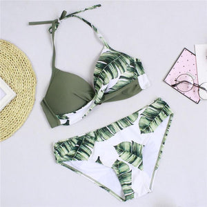 green tropical bikini