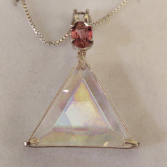 "Angel Aura ""Star of David"" with Pink Tourmaline Crystal Necklace"