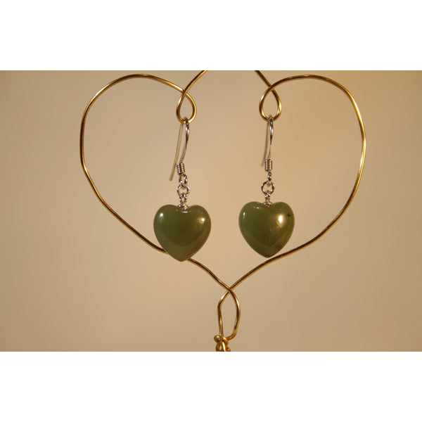 Energy Earrings: Jade Hearts