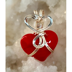 Red Glass  Heart   Pendant-1