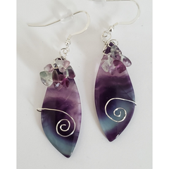 Fluorite Earrings with Fluorite Chips