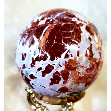Red/Gray Jasper Stone Sphere with Stand