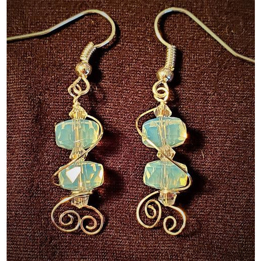 Wire Wrapped Opalite Earrings w/Crystal Beads