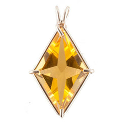 "Siberian Gold Quartz ""Asension Star: with Moldavite Crystal Necklace"