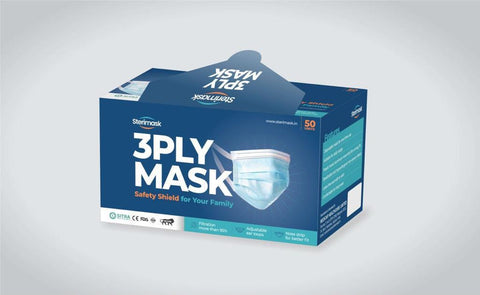 Certified Disposable 3ply Face Mask - pack of 50