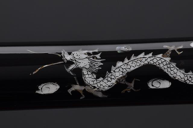 FULLY HAND FORGED BLACK MOTHER OF PEARL DRAGON SAMURAI KATANA SWORD - buyblade
